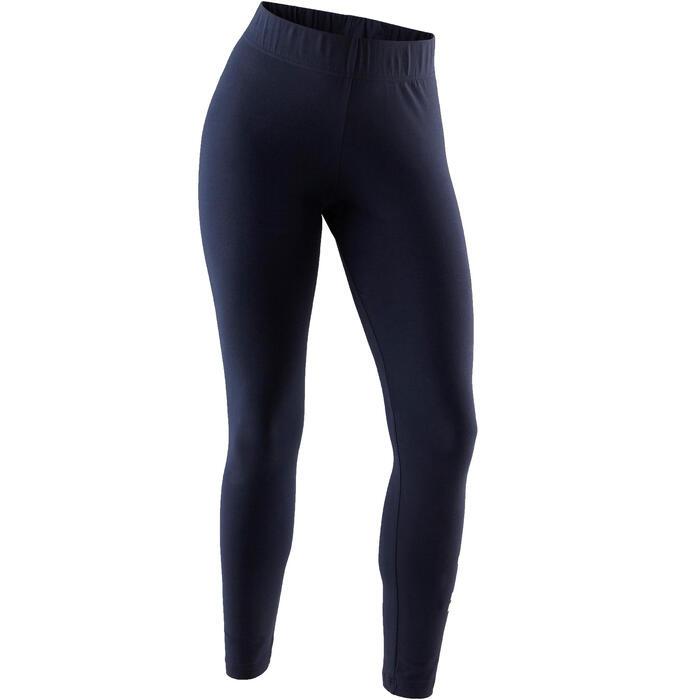 Leggings Linear 500 Gym Damen weiß/blau