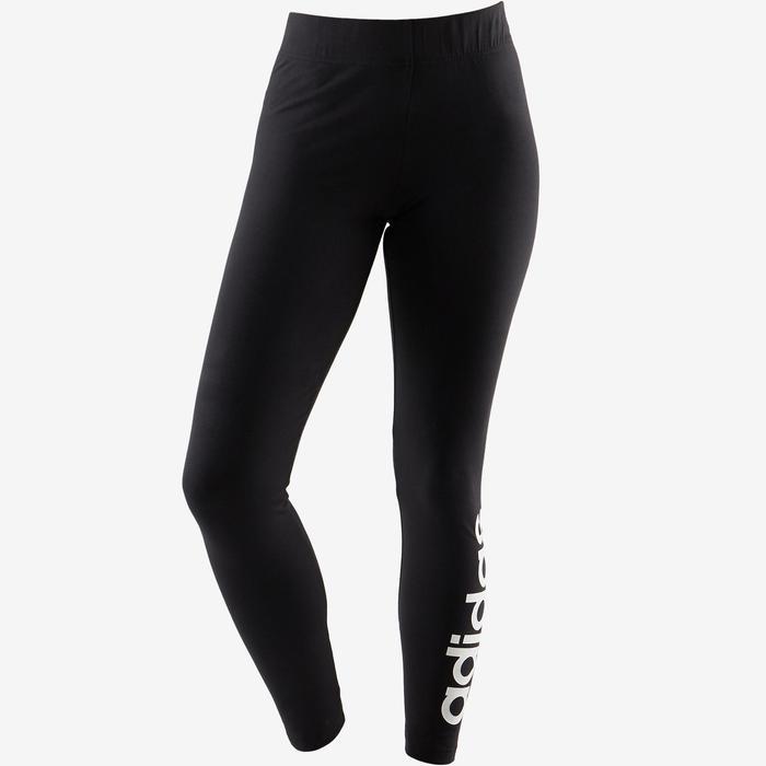 Leggings Linear 500 Pilates sanfte Gymnastik Damen schwarz/weiß