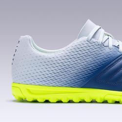 Botas de Fútbol adulto Kipsta Agility 300 HG turf gris y azul