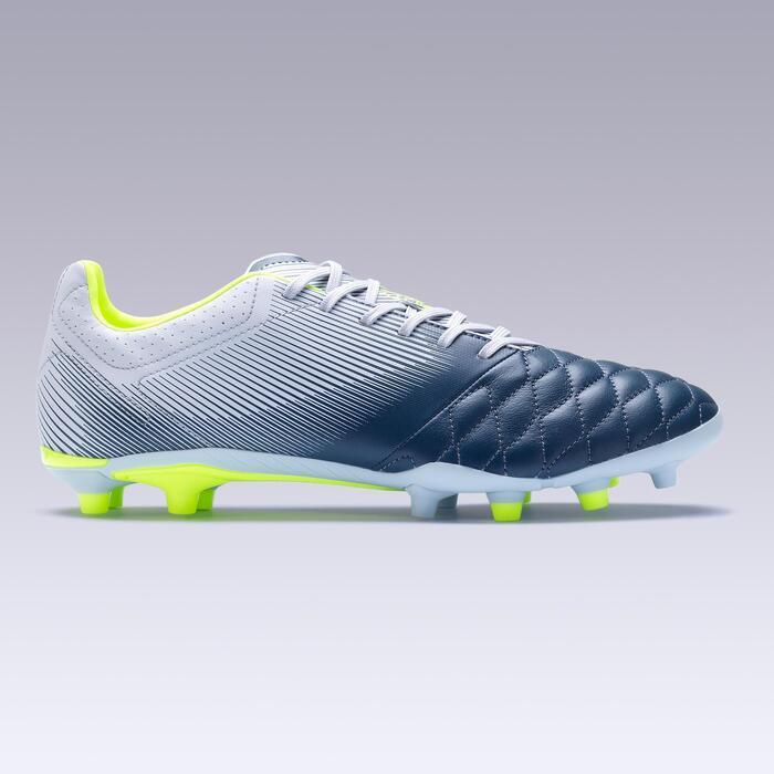 Fußballschuhe Agility 700 Leder FG Nocken Trockenböden Erwachsene grau