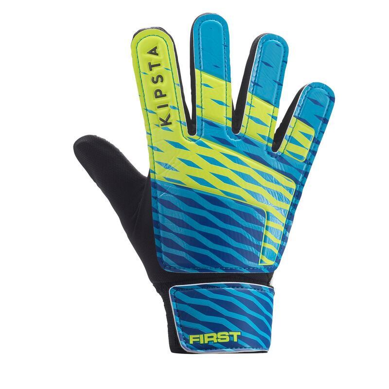 Dětské fotbalové brankářské rukavice First modro-žluté