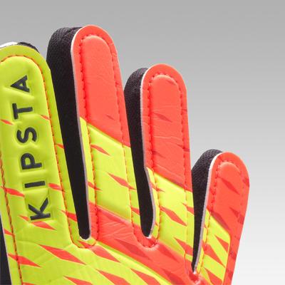 Guantes de arquero para Fútbol Kipsta First niños naranja negro amarillo