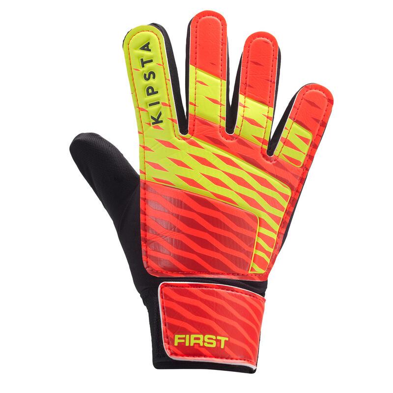 Dětské fotbalové brankářské rukavice First oranžovo-černo-žluté
