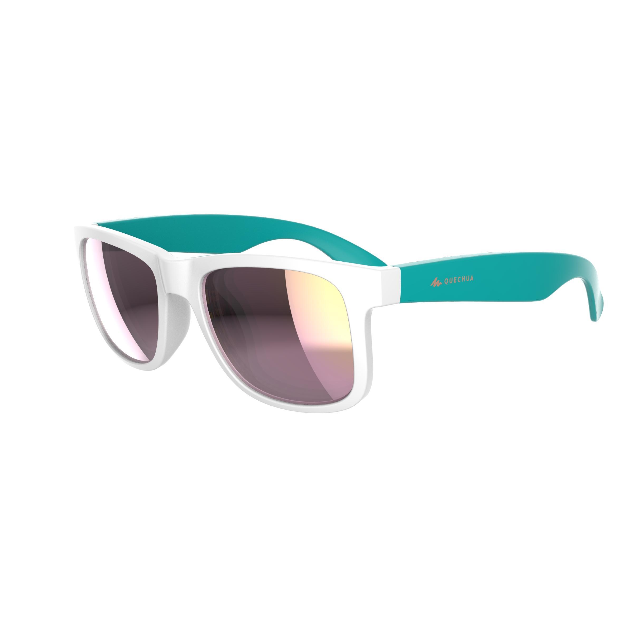 Gafas de sol senderismo júnior 11-14 años MH T140 blanco/azul turquesa cat. 3