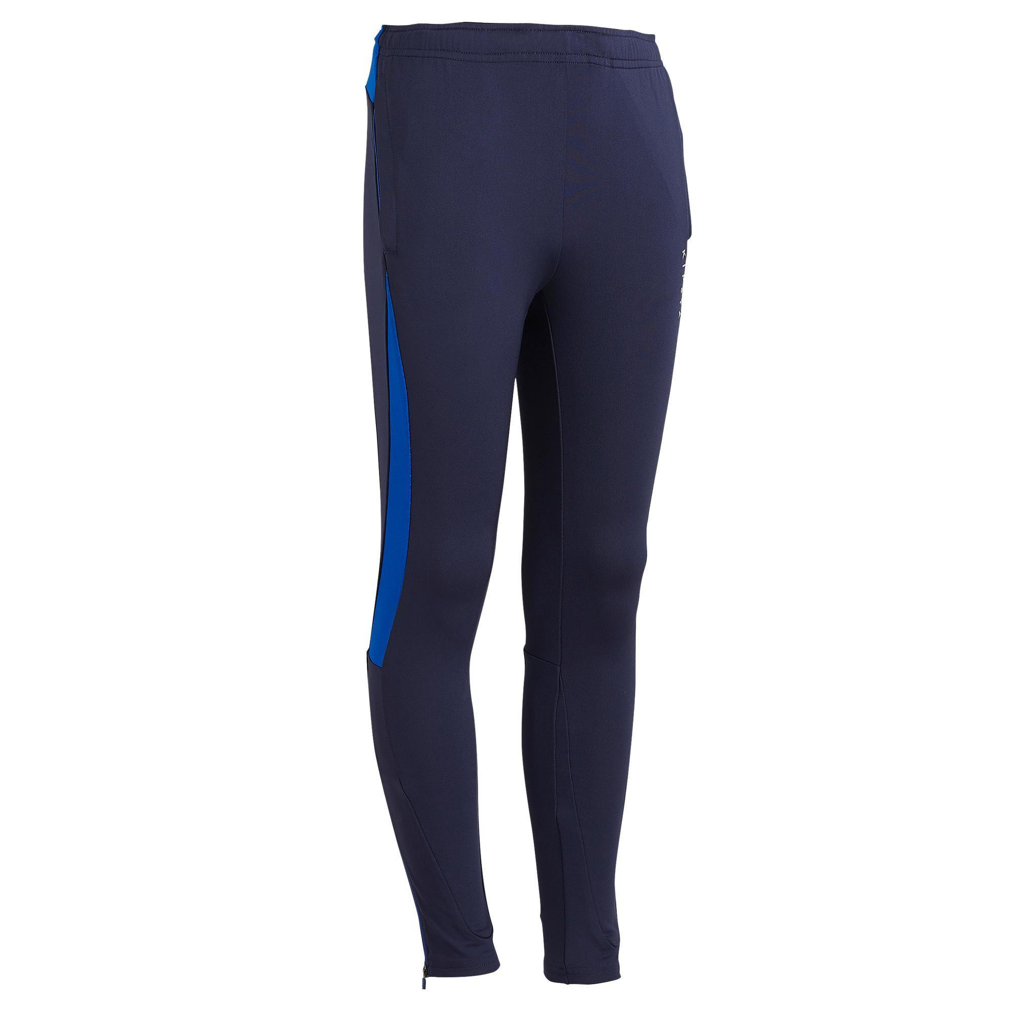 Pantalon de football dentrainement enfant tp 900 marine et bleu indigo kipsta