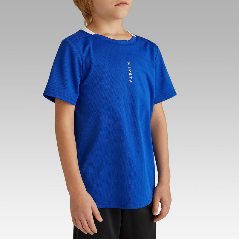 Áo thun đá bóng F100 cho Trẻ em - Xanh dương chàm