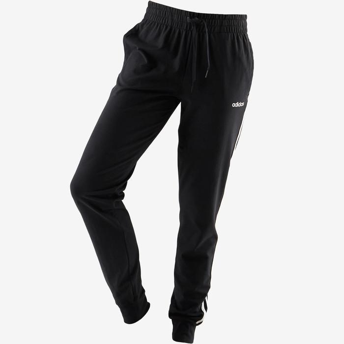 Pantalón Chándal Gimnasia Pilates Adidas 3S 500 Mujer Negro