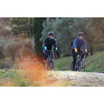Langarm-Radtrikot Rennrad RC 100 Herren schwarz/blau/türkis