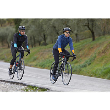 Herenshirt met lange mouwen wielertoerisme fris weer RC100 donkerblauw/oranje