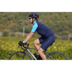 Fietsshirt met korte mouwen warm weer heren wielertoerisme RC100 navy blauw