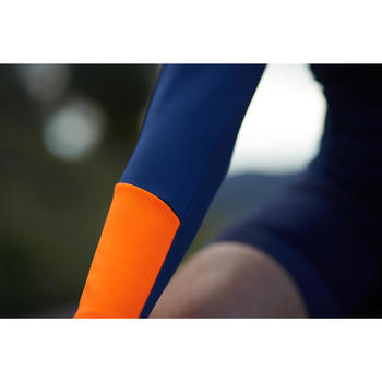Langarm-Radtrikot Rennrad RC 100 Herren dunkelblau/orange