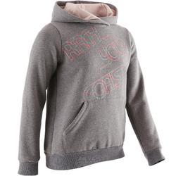 100 Girls' Warm Hooded Gym Sweatshirt - Grey Print