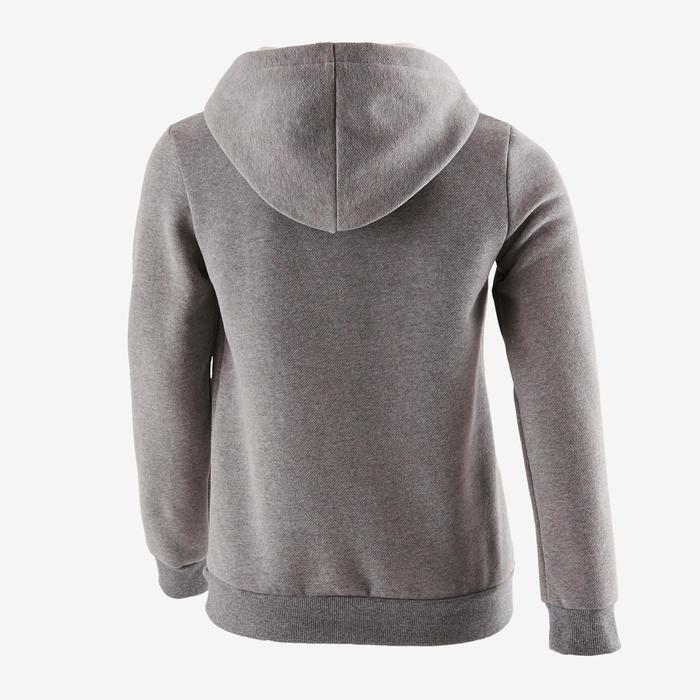 100 Girls' Warm Hooded Gym Sweatshirt - Grey Print