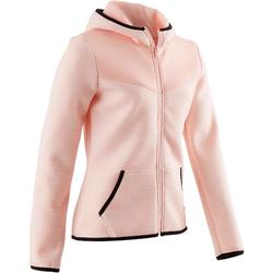 500 Girls' Gym Warm, Breathable Cotton Hooded Jacket - Mottled Pink