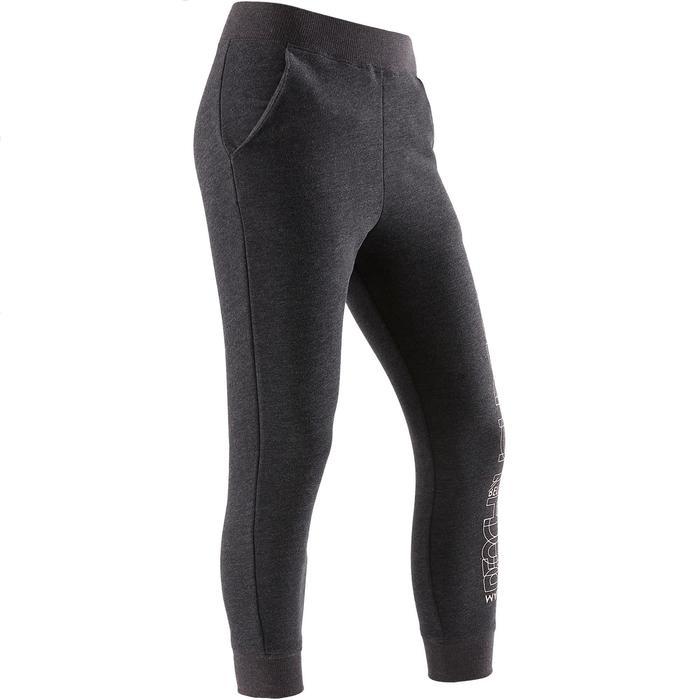 女童保暖健身長褲100 - 深灰色印花