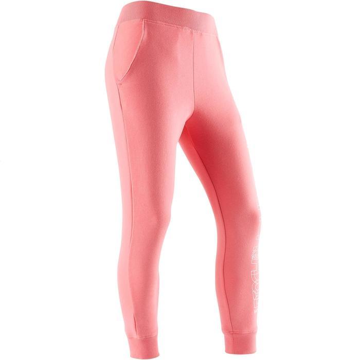 女童保暖健身長褲100 - 粉紅色