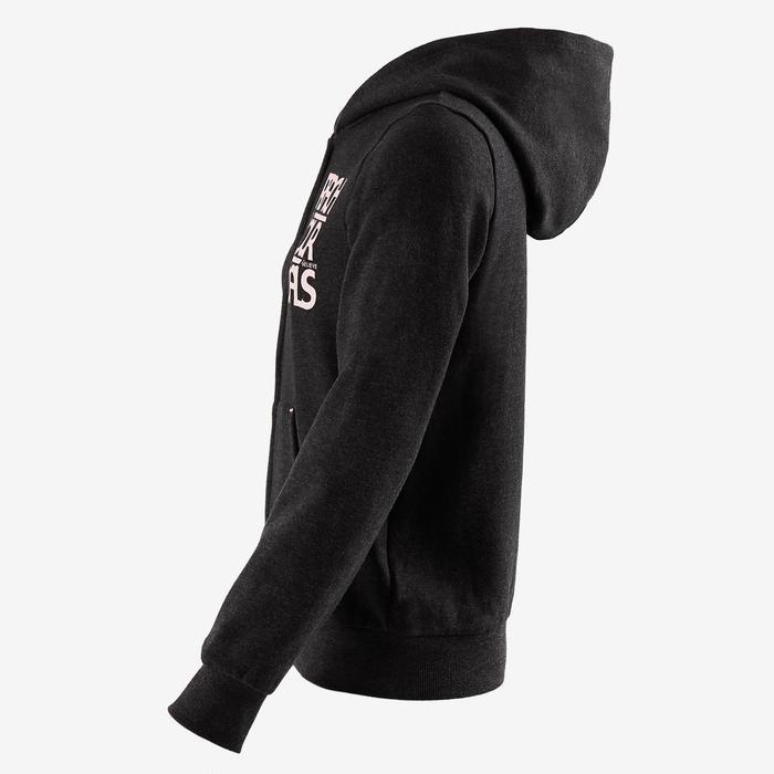 女童保暖健身連帽運動衫100 - 灰色印花