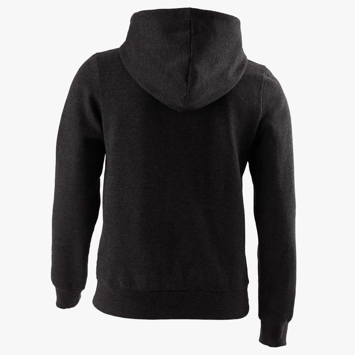 Warm vest met capuchon 100 meisjes GYM KINDEREN grijs met print