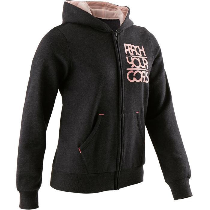 100 Girls' Warm Hooded Gym Jacket - Grey Print