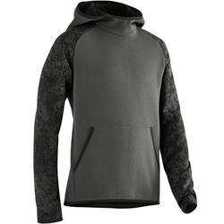 100 Boys' Warm Hooded Gym Sweatshirt - Grey Print
