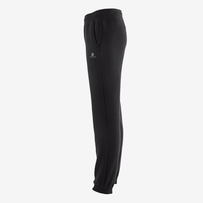 Warme joggingbroek voor gym jongens 100 loose fit zwart