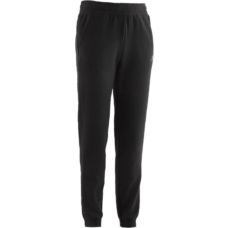 男童寬版剪裁保暖健身長褲100 - 黑色