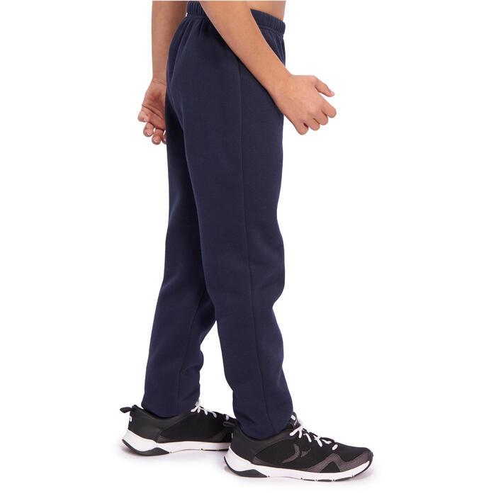 男童修身剪裁健身保暖刷毛長褲100 - 海軍藍