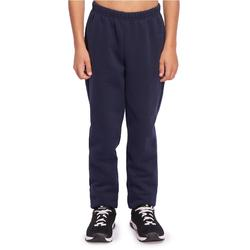 Warme joggingbroek voor gym jongens 100 slim fit molton marineblauw