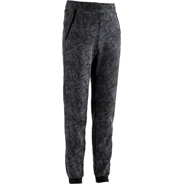 男童標準剪裁保暖健身長褲100 - 黑色AOP