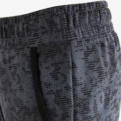 Warme joggingbroek voor gym jongens 100 loose fit grijs/print