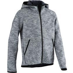 500 Boys' Gym Breathable Cotton Warm Hooded Jacket - Mottled Blue