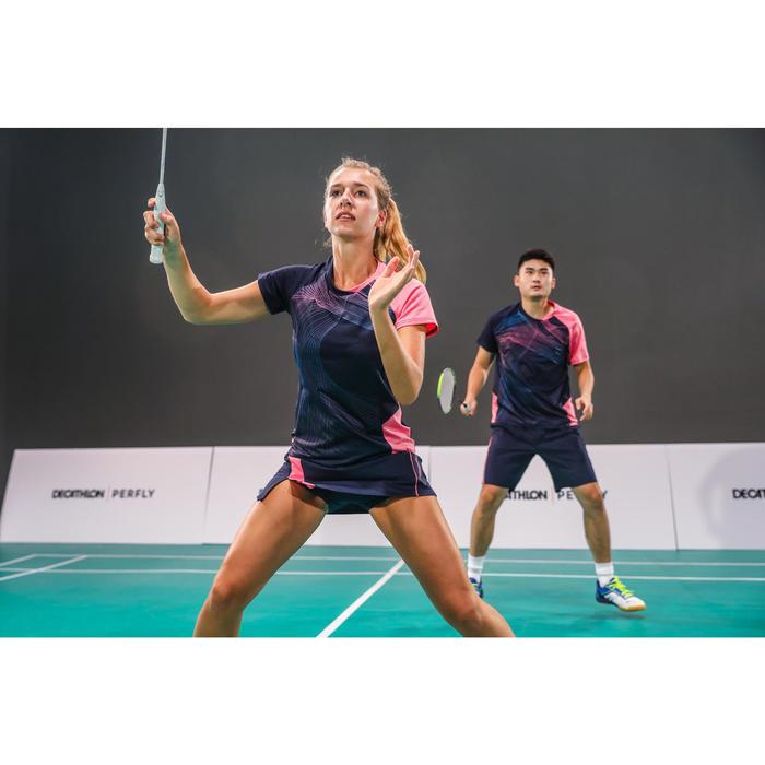 T-Shirt de badminton Femme 560 - Marine/Rose