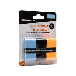 BADMINTON COMFORT OVERGRIP X 3 BLUE BLACK ORANGE