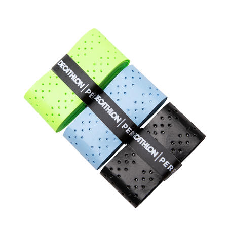 BADMINTON QUICKDRY OVERGRIP X 3 BLACK  BLUE GREEN