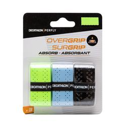 Quick Dry Badminton Overgrip Tri-Pack - Black/Red/Yellow