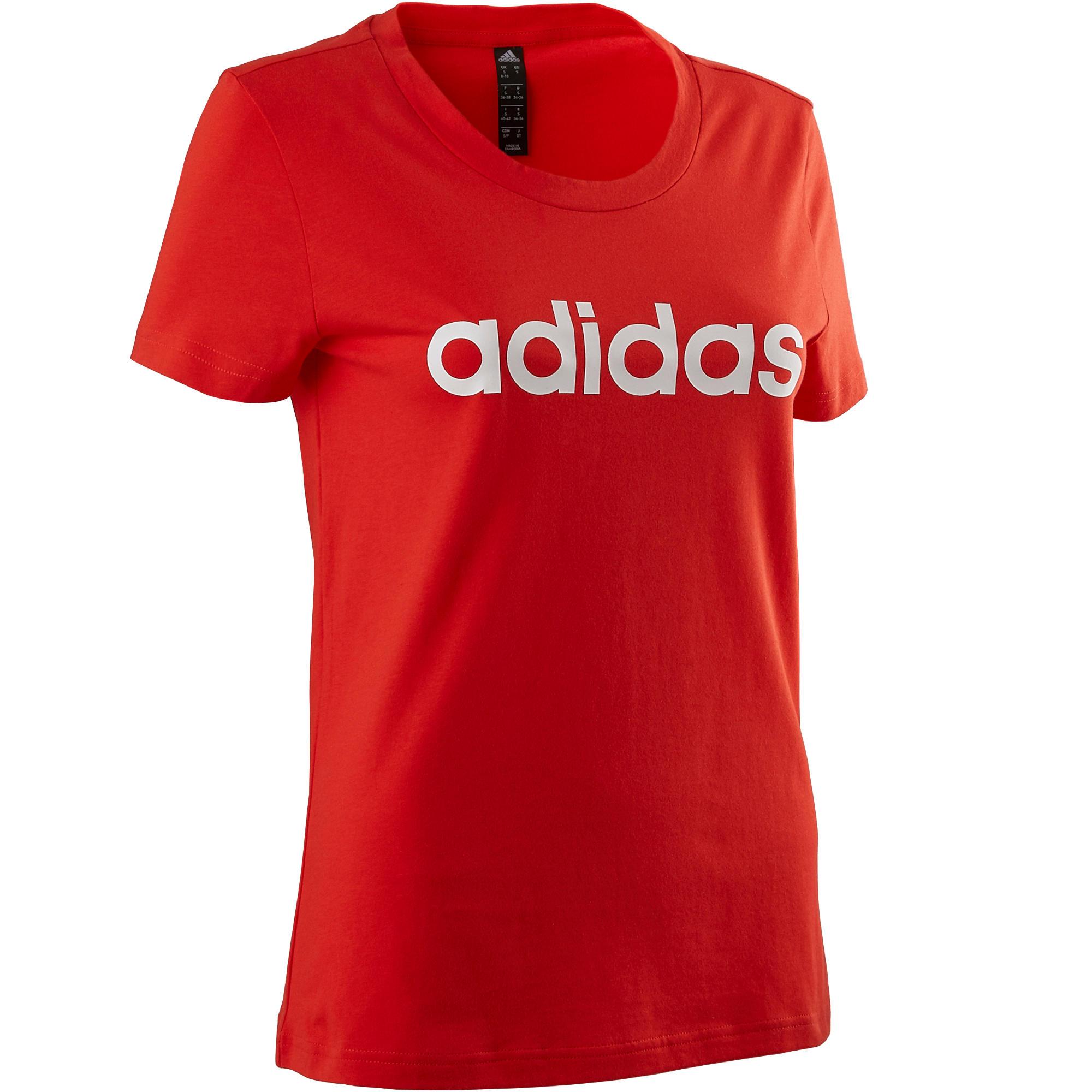 Adidas T-shirt Adidas 500 pilates lichte gym dames rood/wit