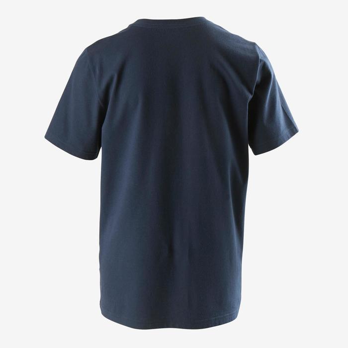 T-shirt voor jongens met Adidas-logo op de borst blauw