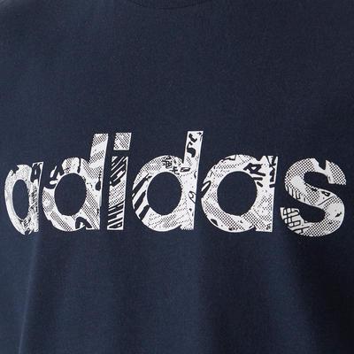 T-shirt garçon bleu avec logo adidas sur la poitrine