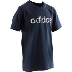 T-shirt jongens blauw met Adidas-logo op de borst