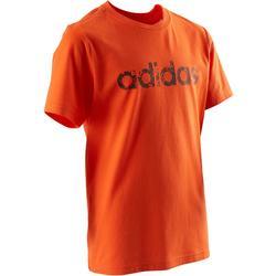 T-shirt jongens oranje met Adidas-logo op de borst