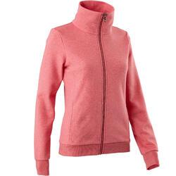 500 Women's Pilates & Gentle Gym High-Neck Hoody - Pink