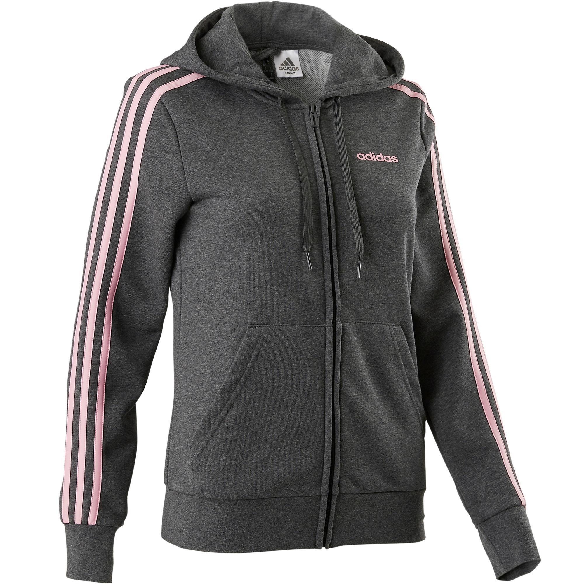 709893a82e4 Adidas Damesvest Adidas 3S 500 voor pilates en lichte gym grijs roze    Decathlon.nl