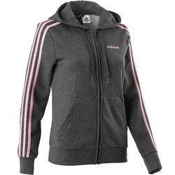 Damesvest Adidas 3S 500 voor pilates en lichte gym grijs roze