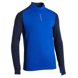 兒童款半開式足球訓練運動衫T900-藍色/灰色