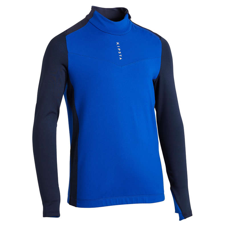 JR COLD WEATHER OUTFIT Football - 1/2 Zip Sweatshirt T900 - Blue KIPSTA - Football Clothing