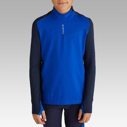 Sweat-Shirt de football enfant 1/2 ZIP T900 bleu et marine