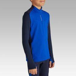 Voetbalsweater met halve rits voor kinderen T900 blauw/marineblauw