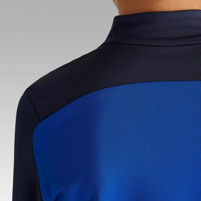 Sweat-Shirt de football enfant 1/2 ZIP T900 bleu et marine
