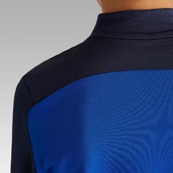 Sweat de football d'entrainement enfant 1/2 ZIP T900 bleu et gris