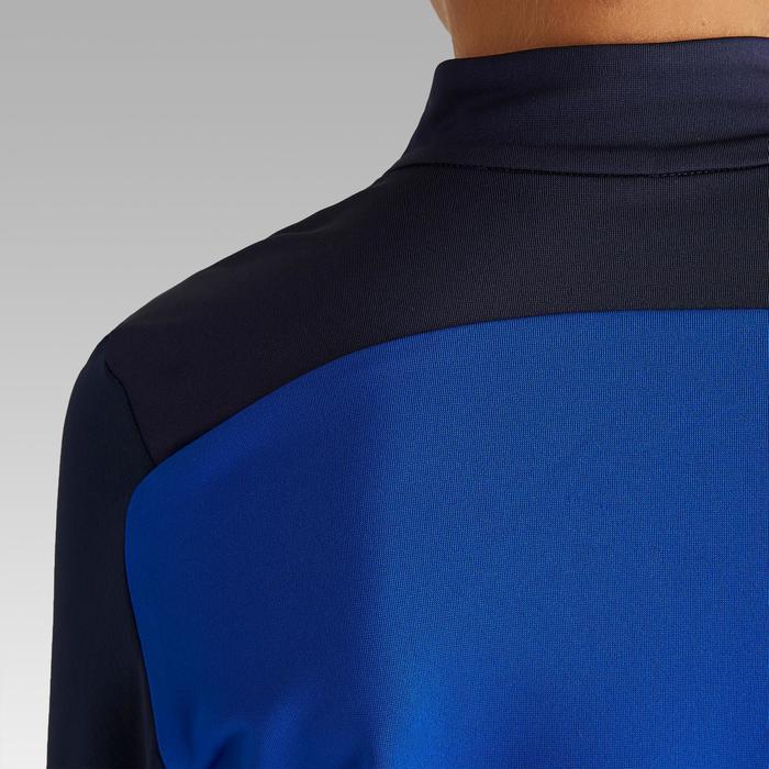 Trainingssweater voor voetbal 1/2 rits T900 blauw/grijs
